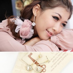 韩国进口饰品批发 满钻方形奥地利水晶耳钉耳坠定做-流星泪 4223