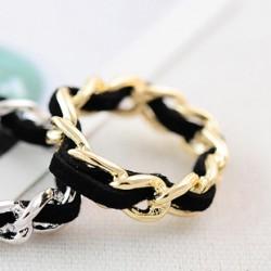 韩国流行饰品 纯手工制作链条绒绳绸带编织活动柔软戒指圈-2755