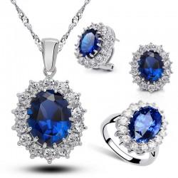 KELAKELA 威廉王子凯特王妃结婚坦桑蓝宝石镀真金戒指耳夹项链三件套装2014004-488