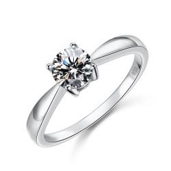 千族银饰 鸿雁 全球经典四爪八心八箭切工锆石925结婚订婚纯银款式戒指2014118