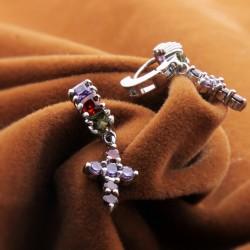KELAKELA 十字架水晶耳坠 微镶锆石耳环 欧美防过敏简约闪钻耳饰品2014746
