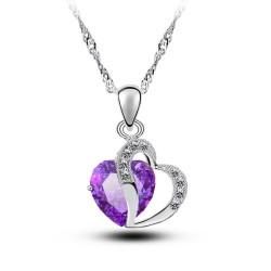 KELAKELA 心心相印锆石韩版时尚女款项链 心形宝石紫水晶吊坠2014804