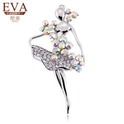EVA颐娲 高端胸针品牌 韩版饰品气质银色芭蕾舞女孩镶彩钻水晶胸针别针 3043
