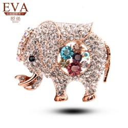 EVA颐娲 高端服装配饰品牌 欧美个性可爱满钻水晶小象胸针 动物别针 5380-88