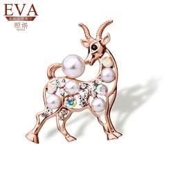 EVA颐娲 高端胸针品牌羊年首饰 新款时尚胸针 别针 动物珍珠衣配饰品 领扣 微商代理5800