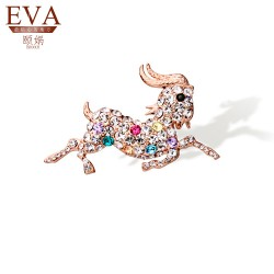 EVA颐娲 高端胸针品牌2015羊年新款首饰 生肖羊水晶胸针 胸花 职业西服领针 衣饰品5801