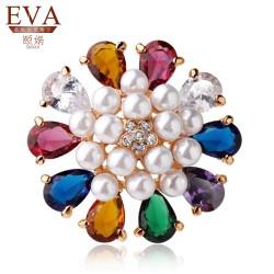 EVA颐娲 高端胸针品牌 镶嵌锆石水晶胸针 时尚珍珠胸花 披肩扣 情人节礼物5825