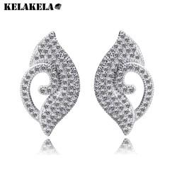 KELAKELA 欧美设计品牌 睫毛眼睛全锆石个性耳钉 OL气质防过敏耳饰 2014882