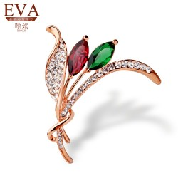 EVA颐娲 高端胸针品牌 精致宝石款 树叶时尚水晶锆石胸针 厂家直销5836