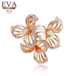 EVA颐娲 高端胸针品牌 Ebay热销款三叶花满钻镂空胸针 时尚OL女士胸花 礼物5853