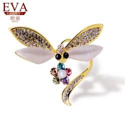 EVA颐娲 高端胸针品牌 18K金蜻蜓水晶高档猫眼石胸针 衬衫职业复古领针 5852