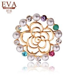 EVA颐娲 高端胸针品牌 情人节礼物 经典镂空玫瑰花胸针 贵妇珍珠胸花 5865