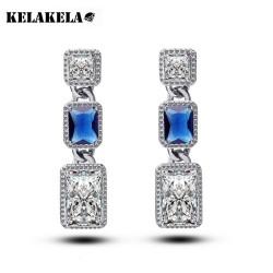 KELAKELA 彩宝耳环女长款水晶耳钉 大牌豪华方形锆石耳环K044