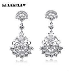 KELAKELA 欧美珠宝水晶锆石新款耳坠 晚宴礼服配戴耳环 耳钉K026