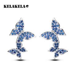 KELAKELA 厂家直供韩式流行 镀白金微镶锆石耳坠蝴蝶耳环耳钉 K046