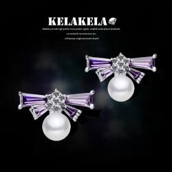 KELAKELA 镶嵌4A级锆石淡水珍珠耳钉 防过敏耳针送首饰盒K042