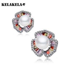 KELAKELA 锆石镶嵌水晶 名媛气质OL珍珠耳环耳钉 K054