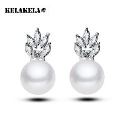 KELAKELA 微镶高档贝珠水晶耳环 婚纱礼服首饰 精品锆石耳钉 K023