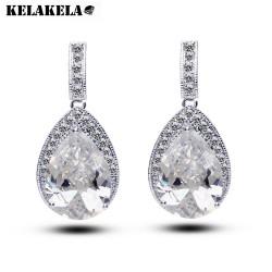 KELAKELA  珠宝高级定制 水滴微镶锆石耳坠 欧美款时尚耳环K063