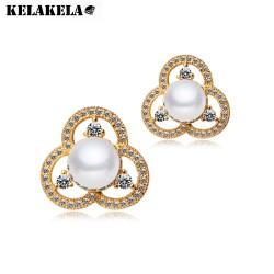 KELAKELA  镀真白金锆石贝珍珠耳钉 韩版时尚三叶花耳环 礼物K064