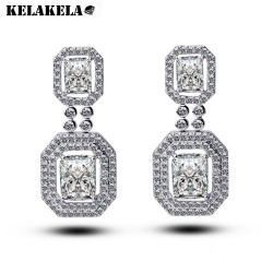 KELAKELA  意大利设计 镶锆石耳环方耳坠耳钉 结婚珠宝首饰K082