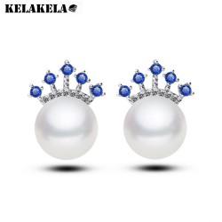 KELAKELA 欧美潮品 微镶锆石珍珠耳饰 大气时尚女款耳钉 K101