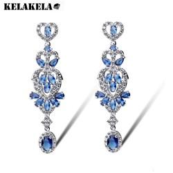 KELAKELA 欧美锆石电镀真金时尚耳环 精工经典优雅长款耳钉 礼物K099