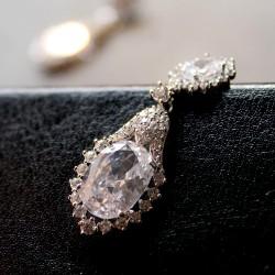 KELAKELA 欧美奢华锆石耳环长款 镀金时尚耳饰防过敏 安逸K093