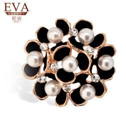 EVA颐娲 高端胸针品牌 珍珠流行饰品 时尚水晶胸花别针 礼物5876