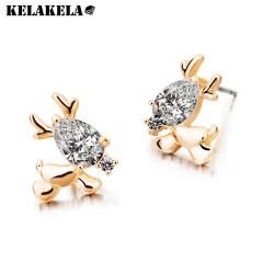 KELAKELA 可爱水晶锆石小鹿耳钉 时尚微镶耳饰 韩国饰品 K113