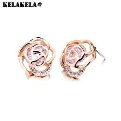 KELAKELA 珠宝时尚玫瑰花镂空锆石耳钉 女韩版气质耳针 防过敏K117