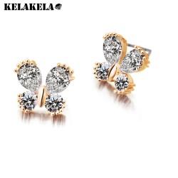 KELAKELA 蝴蝶闪耀锆石优雅耳环 耳钉饰品韩国微镶珠宝定制K109