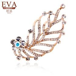 EVA颐娲 高端胸针品牌 韩国水晶胸花 羽毛高档别针时尚百搭服装饰5955