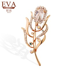 EVA颐娲 高端胸针品牌 新款水晶树枝别针批发 保色镶钻衣饰配饰品6135