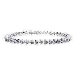 KELAKELA 电镀真白金 高端奢华锆石手链 简约新娘首饰 专柜品质 K128