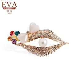 EVA颐娲 高端胸针品牌 珍珠嘴唇猫眼石嘴巴别针 个性西服衣领大衣毛衣扣6130