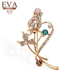 EVA颐娲 高端胸针品牌 韩版时尚手工水晶满钻领针 树叶树枝裙子女别针6133