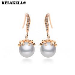 KELAKELA  新款热销珍珠耳环 电镀真白金锆石组合耳饰 韩版时尚气质耳饰批发K138