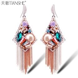 天奢TIANSHE 气质珍珠耳环 波西米亚长款韩国水晶吊坠 流苏耳饰品2014357