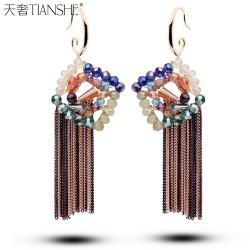 天奢TIANSHE 新款韩国进口菱形水晶耳环 炫彩波西米亚流苏耳坠时尚礼物2014430