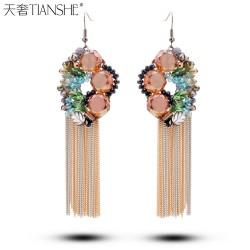 天奢TIANSHE 波西米亚双色流苏水晶耳环女韩国时尚手工饰品复古2014488