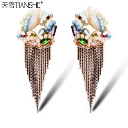 天奢TIANSHE 流苏长款新款韩国耳饰洋气金色长耳环时尚圆形大耳环-魅力女人2015142
