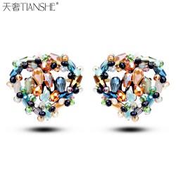 天奢TIANSHE 韩版新款热销奢华精致纯手工闪烁水晶耳钉耳环2014915