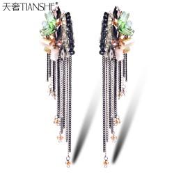 天奢TIANSHE 手工波西米亚水晶串珠耳饰 欧美 流苏耳环2015070