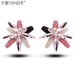 天奢TIANSHE 复古手工水晶耳钉 时尚韩国 OL气质新款耳饰 2014952
