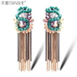 天奢TIANSHE 夜店时尚 蛇形波西米亚串珠流苏耳环2015074
