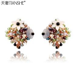 天奢TIANSHE 饰品厂家直销韩国手工耳环定做五叶花珠子方形耳钉-百花齐放2015144