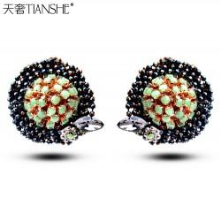 天奢TIANSHE 新款韩国奢华晚宴甜美耳饰 手工水晶耳钉耳环2015014