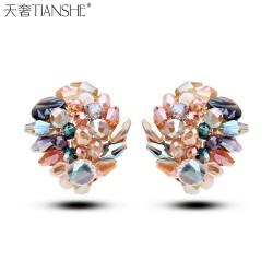 天奢TIANSHE 韩国外贸 纯手工彩色水晶耳钉 欧美复古耳饰品2014932