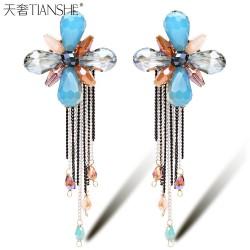 天奢TIANSHE 欧美外贸出口首饰品 纯手工水晶串珠流苏耳环耳钉2014935